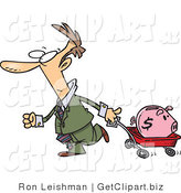 Clip Art of a White Man Pulling a Pink Piggy Bank in a Wagon by Toonaday