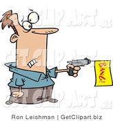 Clip Art of a White Man Shooting a Dud Gun with a Bang Flag by Toonaday