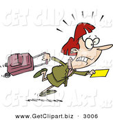 Clip Art of a White Woman in a Hurry to Catch Her Flight by Toonaday