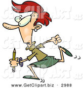 Clip Art of a White Woman Running with a Pencil by Toonaday