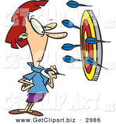 Clip Art of a Wide Eyed White Woman Throwing Darts at a Target by Toonaday