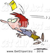 Clip Art of a Wide Eyed Woman Chasing a Yellow Memo Slip by Toonaday