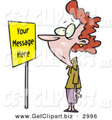 Clip Art of a Wide Eyed Woman Staring at a Yellow Sign by Toonaday