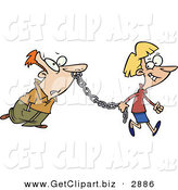 Clip Art of a Woman Leading a Man on a Metal Chain to the Side by Toonaday