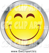 Clip Art of a Yellow and Chrome Round Smiley Emoticon Happy Face by Beboy
