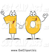Clip Art of a Yellow One and Zero Holding Hands and Forming Number Ten by Hit Toon