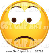 Clip Art of a Yellow Worried Smiley Face by Beboy