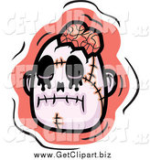 Clip Art of a Zombie Head with Exposed Brain over Pink by Cory Thoman