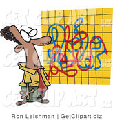 Clip Art of an African American Man Looking at a Crazy Graph Chart Full of Lines by Toonaday