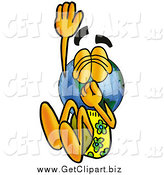 July 31st, 2014: Clip Art of an Earth Globe Mascot Cartoon Character Plugging His Nose While Jumping into Water by Toons4Biz