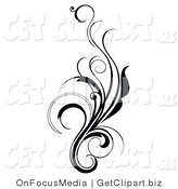 Clip Art of an Elegant and Curly Black and White Design Scroll Growing up by OnFocusMedia