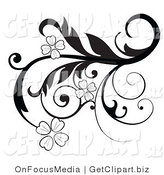 Clip Art of an Elegant Black and White Scrolling Design Element with Blossoming Flowers and Curly Tendrils by OnFocusMedia