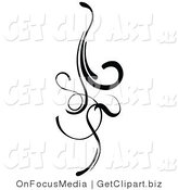 Clip Art of an Elegant Black Design Element Doing Downward with Curls and Lines by OnFocusMedia