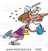 Clip Art of an Exhausted Female Marathon Runner Drinking Water and Running Right by Toonaday