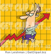 Clip Art of an Increase Arrow on a Graph Chart, Going Right Through an Unimpressed Man by Toonaday
