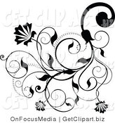 Clip Art of an Intricate Black Floral Flousih Design with Blooms, Tendrils and Leaves by OnFocusMedia
