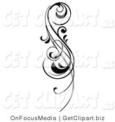 Clip Art of an Intricate Black Scrolling Design Element by OnFocusMedia