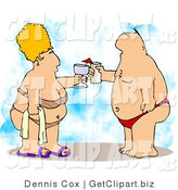 Clip Art of an Obese Man and Wife Vacationing at the Beach by Djart