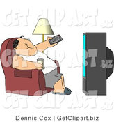 Clip Art of an Obese Man Sitting on a Couch, Channel Surfing the TV, and Drinking Beer by Djart