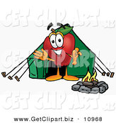 Clip Art of an Outdoorsy Happy Red Apple Character Mascot Camping with a Tent and a Fire by Toons4Biz