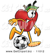 Clip Art of an Outdoorsy Red Apple Character Mascot Kicking a Soccer Ball by Toons4Biz