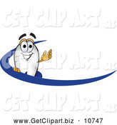 Clip Art of an Outgoing Blimp Mascot Cartoon Character with a Blue Dash by Toons4Biz