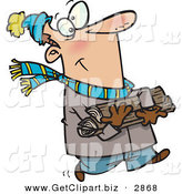 Clip Art of an Outgoing Caucasian Man in Winter Clothing Carrying Firewood for His Fireplace by Toonaday