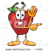 Clip Art of an Outgoing Red Apple Character Mascot Waving and Pointing to the Right by Toons4Biz