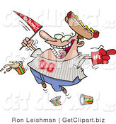 Clip Art of an Overly Happy Male Baseball Fan with a Hot Dog Hat, Flag, Hand and Drinks by Toonaday