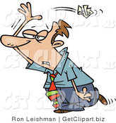 Clip Art of an Upset Busuinessman Tossing Crumpled Paper over His Shoulder by Toonaday