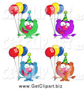 Clip Art of Birthday Bears with Party Balloons by Hit Toon