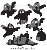 Clip Art of Black and White Ghosts and Tombstones by Visekart