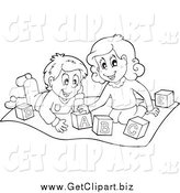 Clip Art of Black and White Kids Playing with Letter Blocks by Visekart