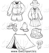 Clip Art of Black and White Scout Uniforms and Gear Digital Collage by Visekart