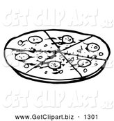 Clip Art of Black and White Sliced Pepperoni Pizza Pie by Hit Toon