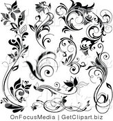 Clip Art of Black Flowers and Flourish Designs by OnFocusMedia