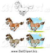 Clip Art of Galloping Horses in Color and Black and White by Hit Toon