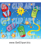 Clip Art of Holiday Fireworks by Visekart
