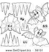 Clip Art of Lineart Cute Purple Bats Eyes and Cave Formations by Visekart