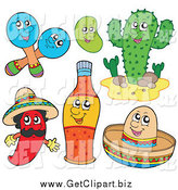 January 21st, 2014: Clip Art of Mexican Maracas, a Bean, Cactus, Chili Pepper, Hot Sauce and Sombrero Characters by Visekart