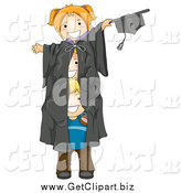 Clip Art of Three White Kids in a Giant Graduation Gown by BNP Design Studio
