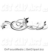 Clip Art of Two Black Flowers on Long Wavy Vines Growing Horizontally by OnFocusMedia