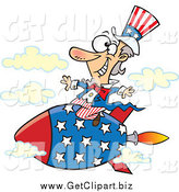 Clip Art of Uncle Sam Riding a Rocket in the Sky by Toonaday