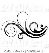 Vector Clip Art of a Beautiful Black and White Scroll Flourish by OnFocusMedia