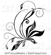 Vector Clip Art of a Black and White Flourish with Tall Grass by OnFocusMedia
