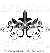 Vector Clip Art of a Black Embellishment Scrolling Flourish Design by OnFocusMedia