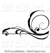 Vector Clip Art of a Black Horizontal Swirling Scroll Design Element Silhouette by OnFocusMedia