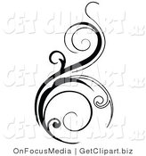 Vector Clip Art of a Black Vertical Scroll Design Element on White by OnFocusMedia