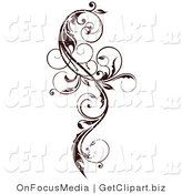 Vector Clip Art of a Dark Brown Grungy Elegant Curly Vine Scroll Design Element by OnFocusMedia