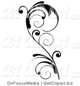 Vector Clip Art of a Tall and Delicate Black Swirling Design Accent of a Curly Vine by OnFocusMedia